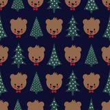 Teddy Bear avec l'arc et le modèle sans couture d'arbres de Noël Photo stock