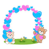 Teddy Bear avec le cadre de coeur Photographie stock