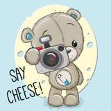 Teddy Bear avec un appareil-photo sur un fond de fromage illustration de vecteur