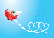 Teddy bear aviator in love. Funny cartoon. Teddy bear aviator in love. Pilot by the red plane draws hearts in the sky royalty free illustration