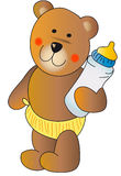 Teddy bear with a baby bottle stock photos