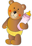 Teddy bear with a baby bottle Stock Photography