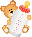 Teddy bear baby with bottle milk. Scalable vectorial image representing a teddy bear baby with bottle milk isolated on white Royalty Free Stock Photo