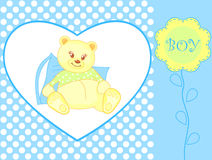 Teddy bear - baby boy arrival announcemen Stock Photos