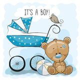 Teddy bear with baby carriage Stock Image