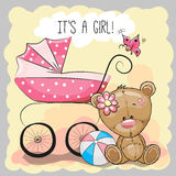 Teddy bear with baby carriage Royalty Free Stock Photos