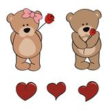 Teddy bear baby cartoon valentine rose set Stock Images