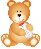 Teddy bear baby drinking milk from bottle. Scalable vectorial image representing a teddy bear baby drinking milk from bottle,  on white Royalty Free Stock Photography