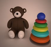 Teddy Bear and baby pyramid Stock Photo
