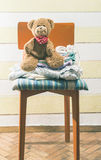Teddy bear in a baby room Royalty Free Stock Photography