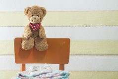 Teddy bear in a baby room Royalty Free Stock Images