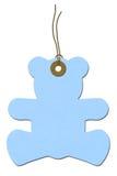 Teddy-bear Baby Shower Gift Tag. Blue teddy-bear gift tag on white, Baby Shower Gift Tag royalty free stock photo
