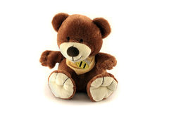 Teddy bear and baby soft toy. Isolated object on white backgroun Royalty Free Stock Photos
