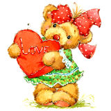 Teddy bear. background for congratulation. watercolor Royalty Free Stock Photography