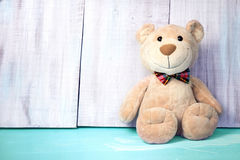 Teddy bear background empty space for text.Birthday toy. Royalty Free Stock Photography