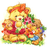 Teddy bear. background for greetings cards. watercolor illustrat Stock Photography