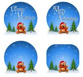 Teddy Bear Backgrounds. An illustration featuring your choice of teddy bear backgrounds or logos with blank or versions that have 'Happy Holidays' and 'Merry Stock Images