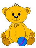 Teddy bear with ball. Toy teddy bear baby smiling, happy play with ball, contours Royalty Free Stock Photography