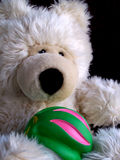 Teddy bear with ball. Fluffy teddy bear sitting with a green and pink ball Stock Photo
