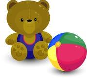 Teddy bear with ball stock photo