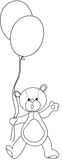 Teddy bear with ballons. A illustration featuring a black and white outline of Teddy bear with balloons Royalty Free Stock Images