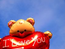 Teddy bear ballons in the sky Stock Photography