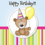 Teddy Bear with balloon stock illustration