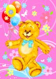 Teddy Bear with Balloons Stock Images