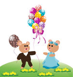 Teddy bear with balloons Stock Image