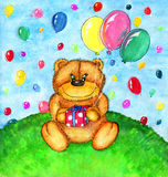 Teddy bear with balloons Royalty Free Stock Images
