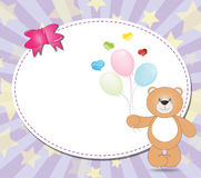 Teddy bear with balloons  on violet background. Illustration Royalty Free Stock Photos