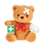 Teddy bear with bandage isolated on white Royalty Free Stock Image