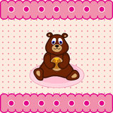 Teddy bear with barrel honey Stock Photography