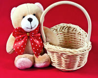 Teddy Bear With Basket  Stock Images