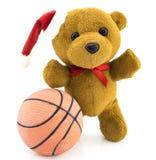Teddy bear with basketball ball/Christmas/Teddy. Teddy bear with red  Christmas balls and basketball ball/Christmas/Teddy Royalty Free Stock Images