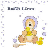 Teddy bear bath time Royalty Free Stock Photo
