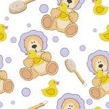 Teddy bear bath time seamless  pattern Royalty Free Stock Photo
