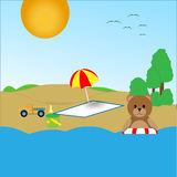 Teddy bear on the beach. Is bathed in water Royalty Free Stock Images