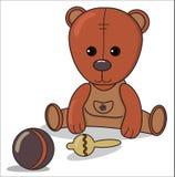 Teddy bear with beanbag , ball, Baby announcement metric card brown and beige color. nursery decor vector illustration