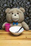 Teddy Bear. Beautiful Teddy Bear sitting behind a table ready to eat. He dressed very nice for this dinner wearing blue bow tie royalty free stock photo
