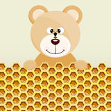 Teddy bear and bee background Stock Photography