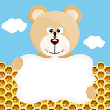 Teddy bear and bee label background Royalty Free Stock Images