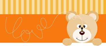 Teddy bear with bee love banner. Scalable vectorial image representing a teddy bear with bee love banner,  on white Royalty Free Stock Photo