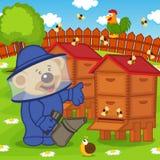 Teddy bear beekeeper keeps bee smoker. Vector illustration, eps Royalty Free Stock Photo