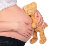 Teddy bear and belly Royalty Free Stock Photography