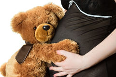 Teddy bear and belly Royalty Free Stock Photos