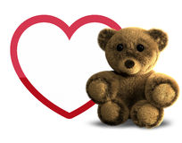 Teddy bear and big heart 3D render Royalty Free Stock Photo
