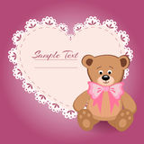 Teddy bear and big heart for Valentines Day Stock Photo
