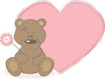 Teddy bear and big heart, vector illustration Stock Photography