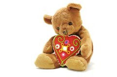 Teddy bear with big sweet heart Stock Photography
